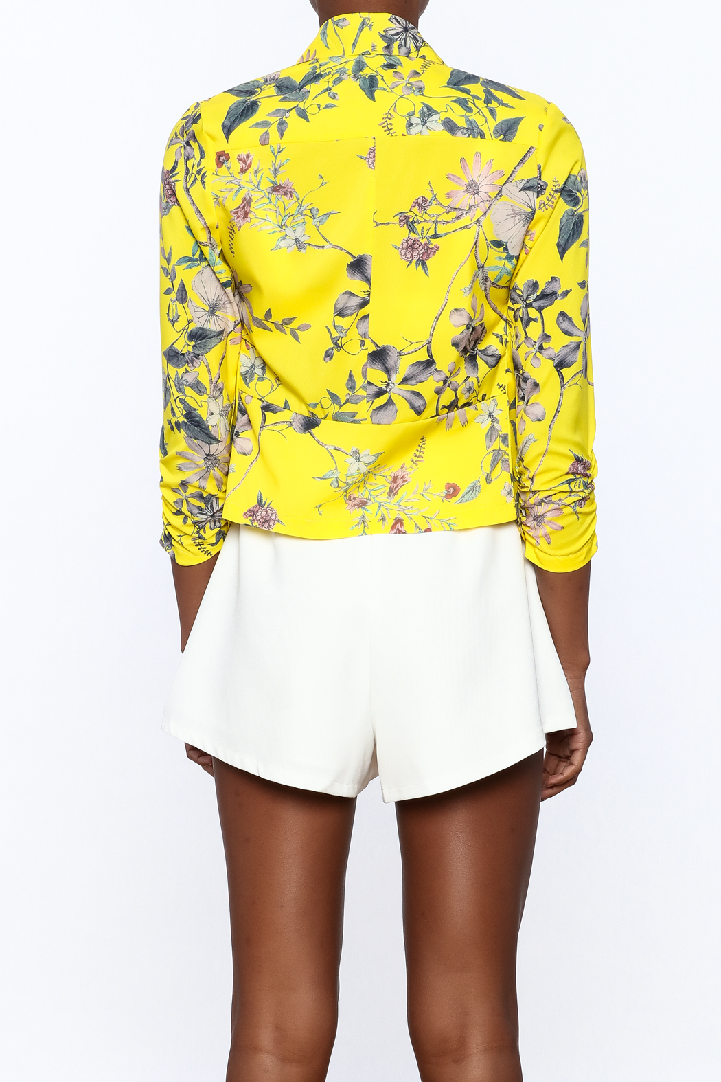MICHEL Yellow Floral Blazer - Back Cropped Image