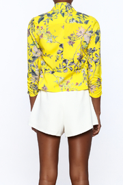 MICHEL Yellow Floral Blazer - Back cropped