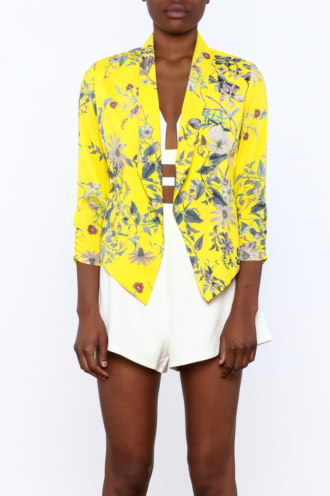 MICHEL Yellow Floral Blazer - Side Cropped Image