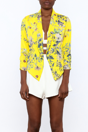 MICHEL Yellow Floral Blazer - Side cropped