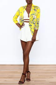 MICHEL Yellow Floral Blazer - Front full body