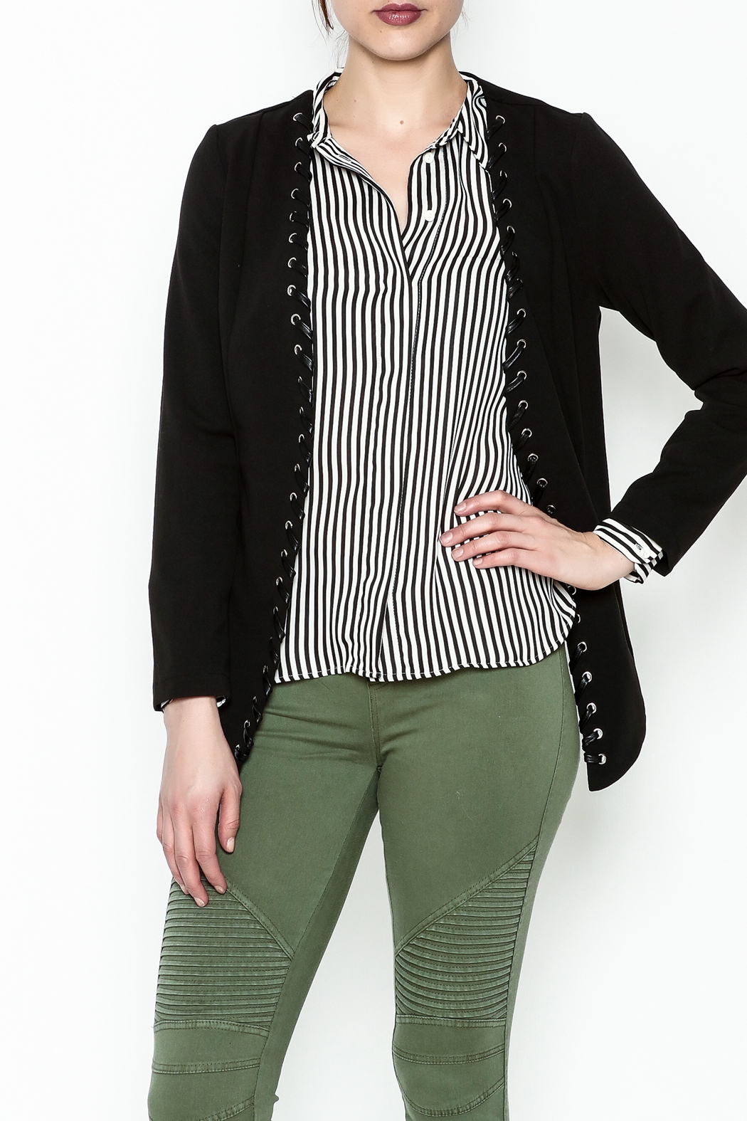 MICHEL Lace Up Blazer - Main Image