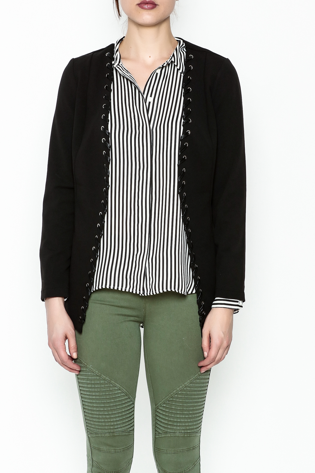 MICHEL Lace Up Blazer - Front Full Image