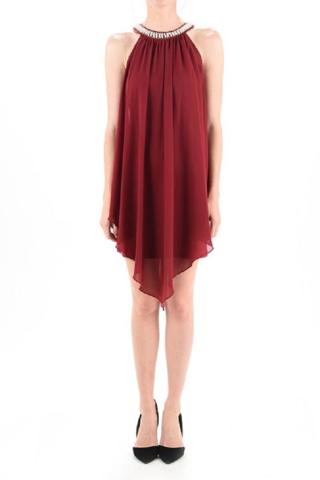 MICHEL Pearl Neck Dress - Back Cropped Image