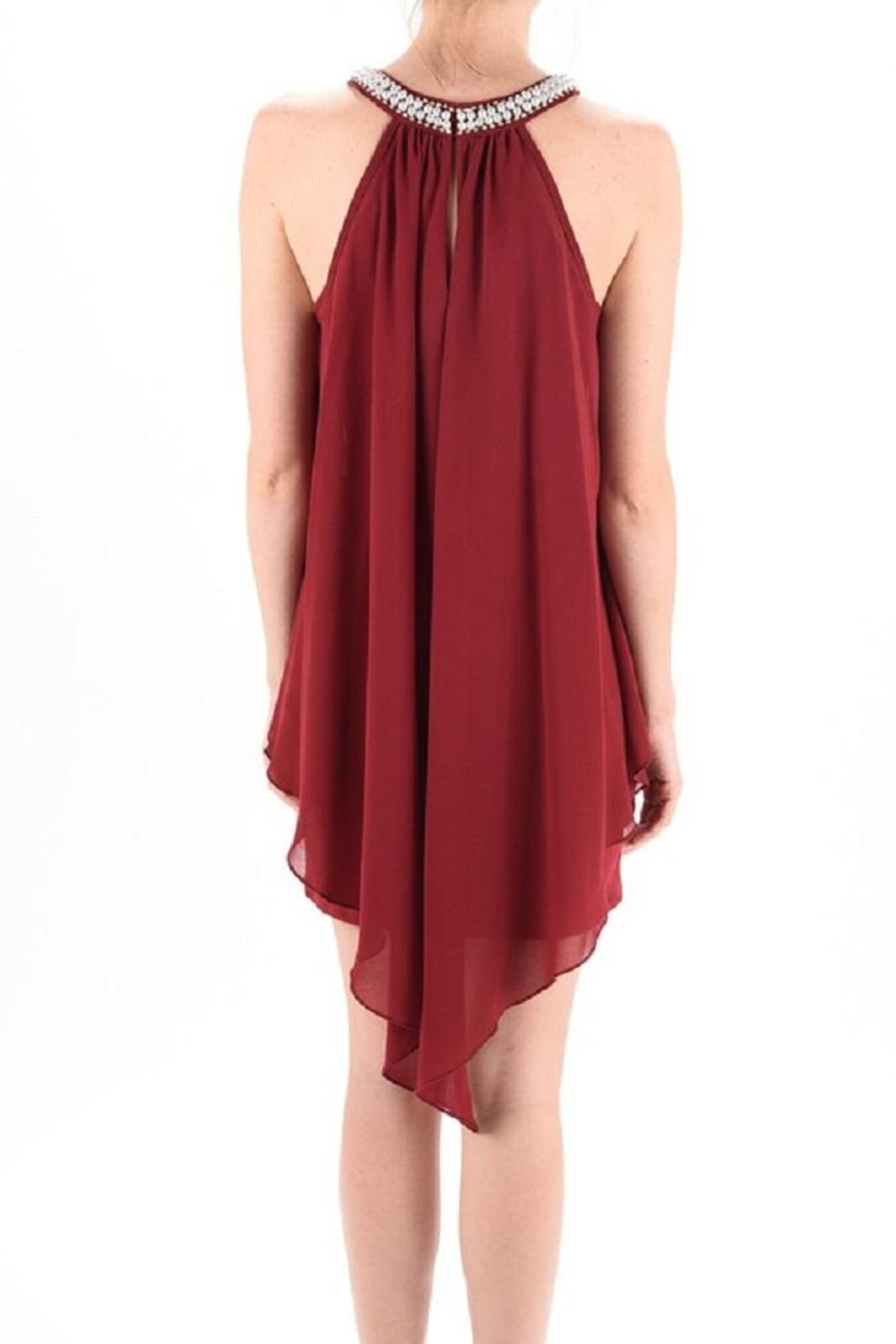 MICHEL Pearl Neck Dress - Front Cropped Image