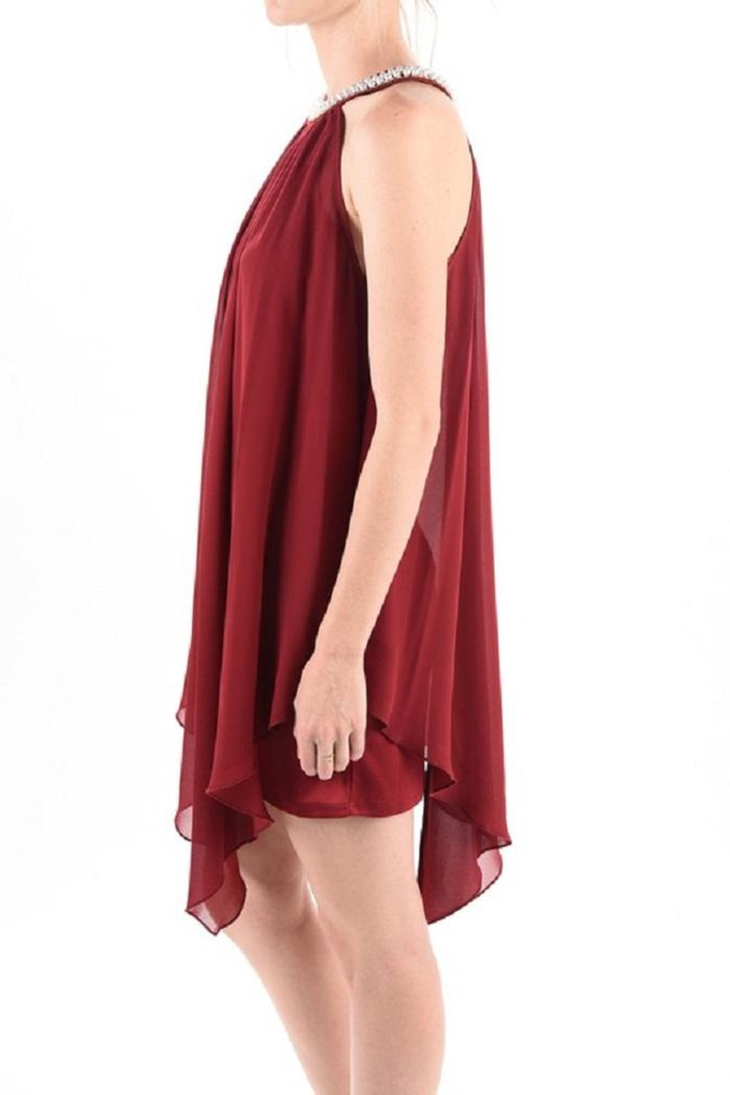 MICHEL Pearl Neck Dress - Front Full Image
