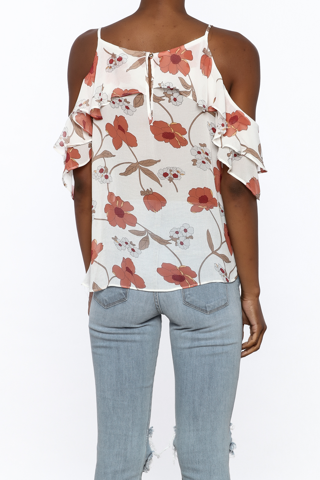 MICHEL Ruffle Floral Top - Back Cropped Image