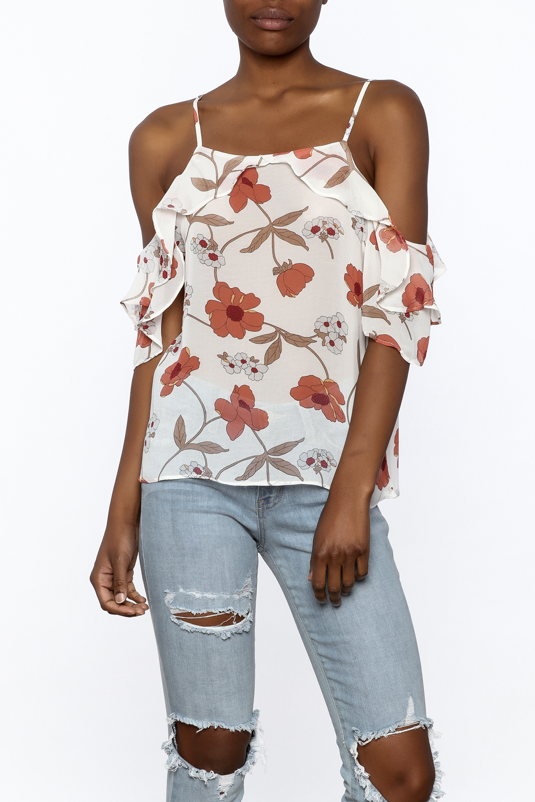 MICHEL Ruffle Floral Top - Front Cropped Image