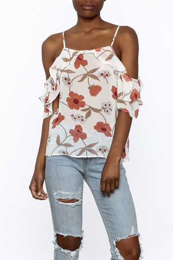 MICHEL Ruffle Floral Top - Main Image