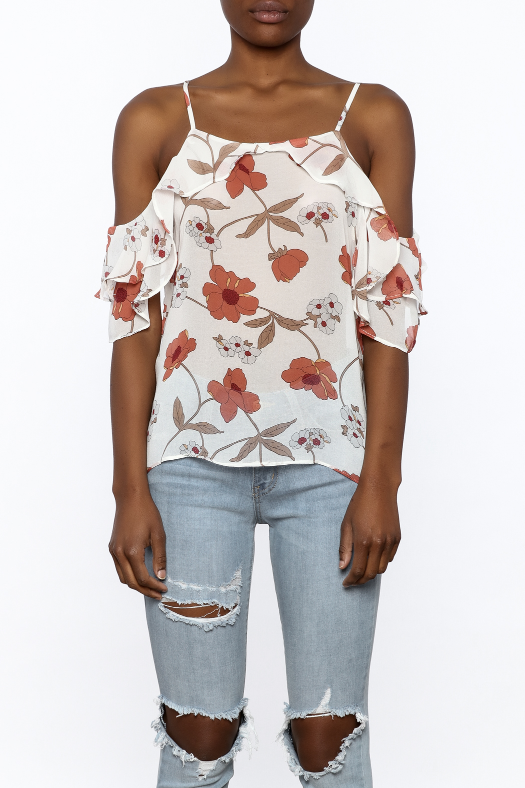 MICHEL Ruffle Floral Top - Side Cropped Image