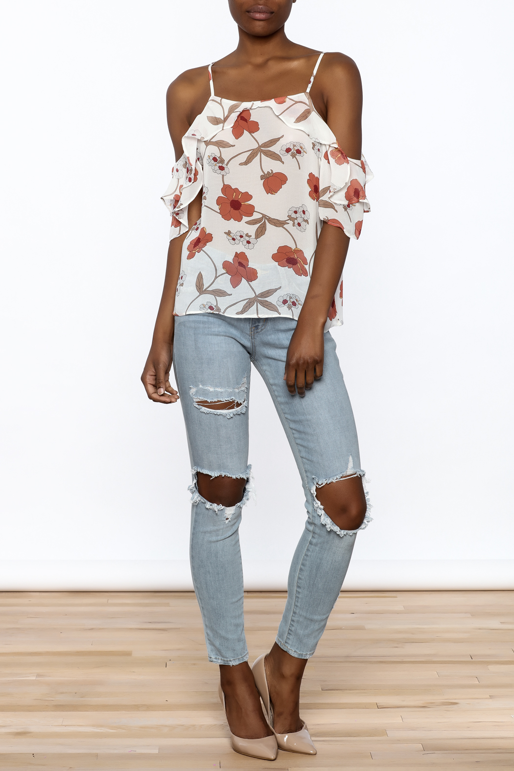 MICHEL Ruffle Floral Top - Front Full Image