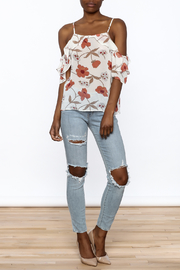MICHEL Ruffle Floral Top - Front full body