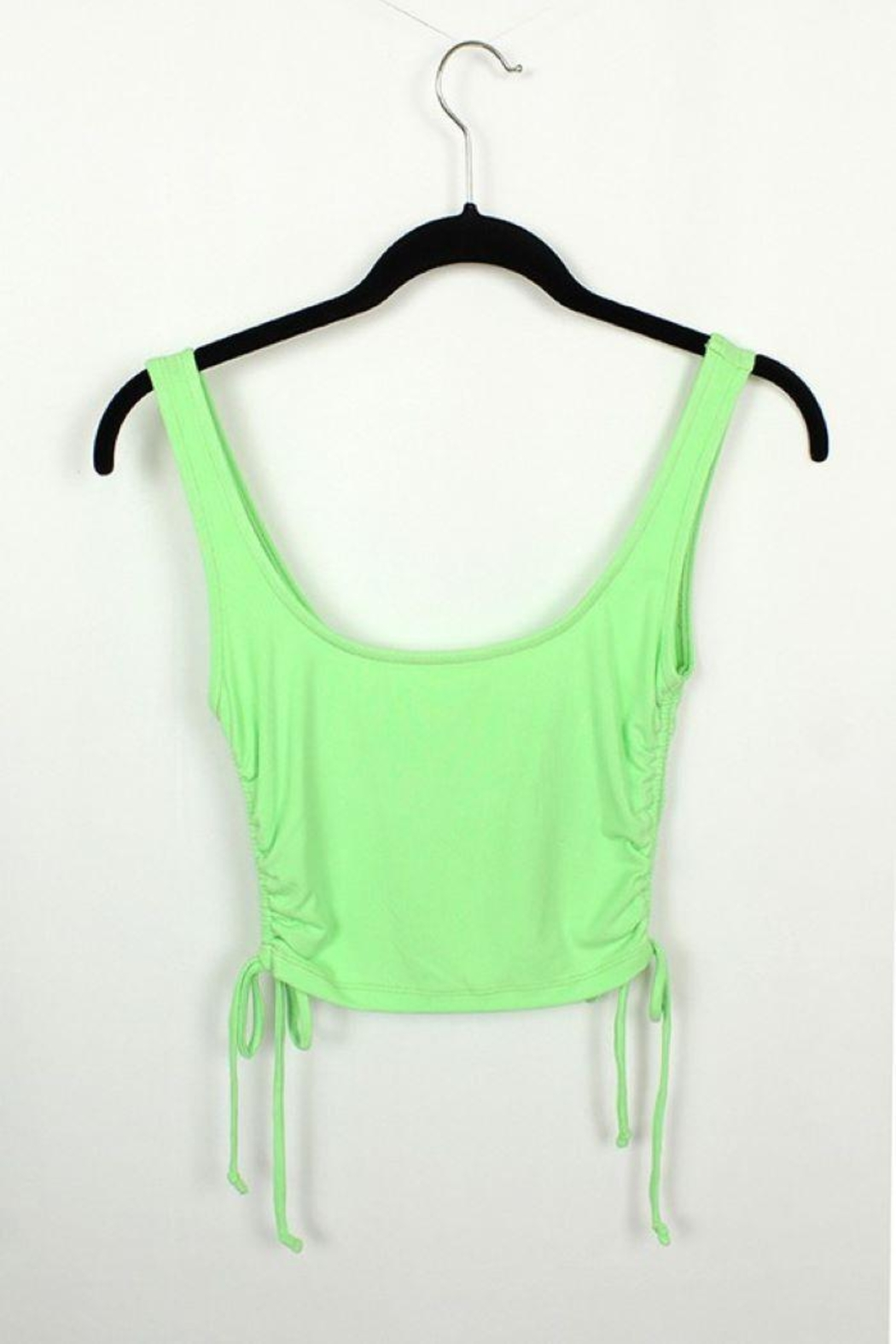 MICHEL Solid Side String Crop Tank Top - Front Cropped Image