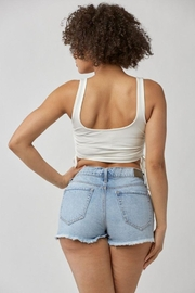 MICHEL Solid Side String Crop Tank Top - Other