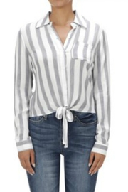MICHEL Striped Front-Tie Blouse - Product Mini Image