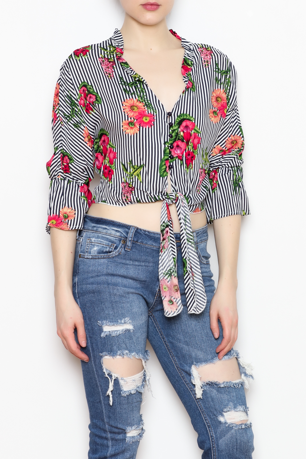 MICHEL Tie Bottom Blouse - Front Cropped Image