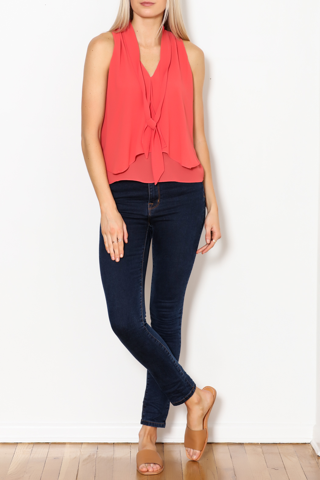 MICHEL Tie Front Blouse - Side Cropped Image