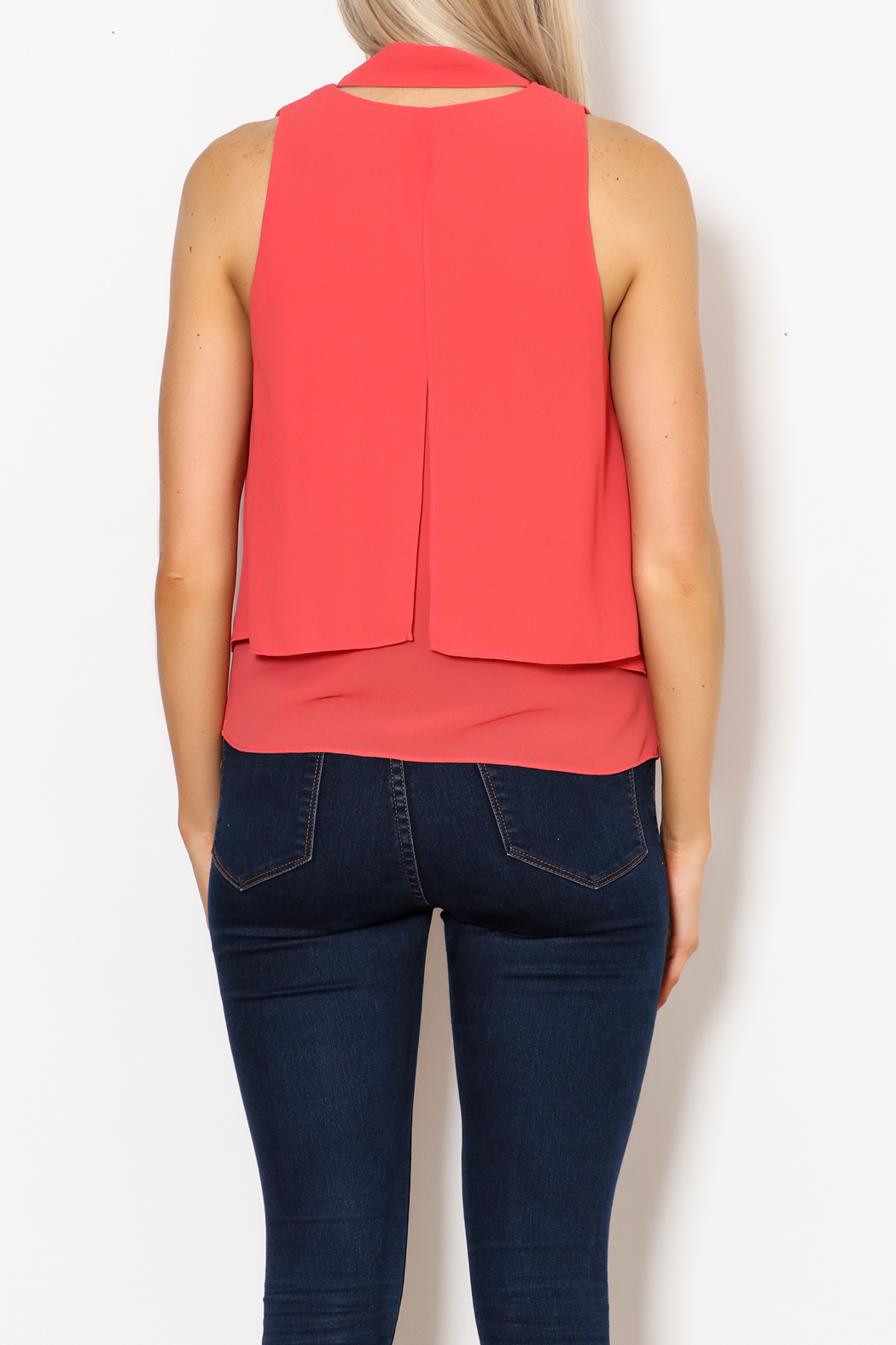 MICHEL Tie Front Blouse - Back Cropped Image