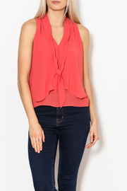 MICHEL Tie Front Blouse - Front full body