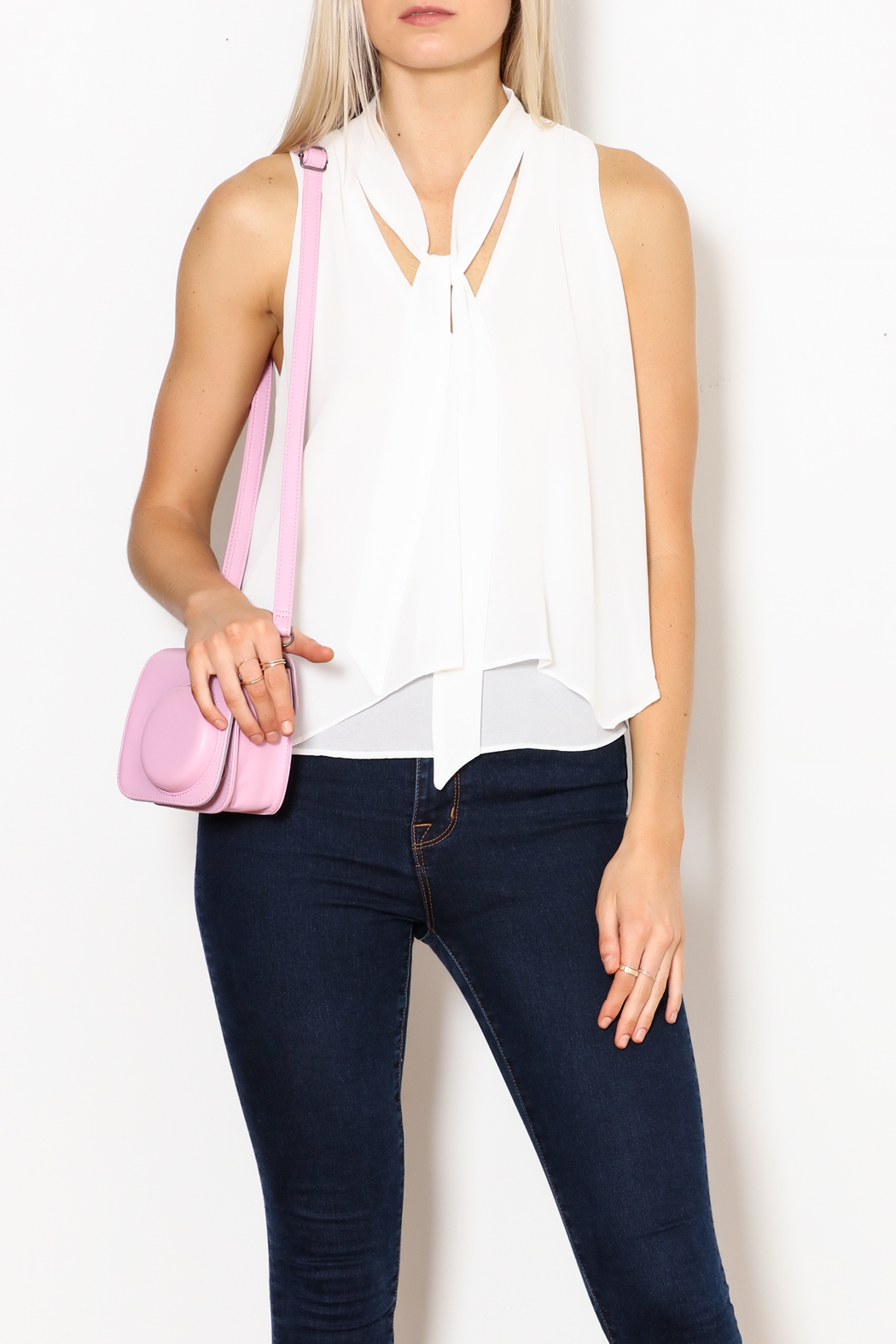 MICHEL Tie Front Blouse - Front Full Image