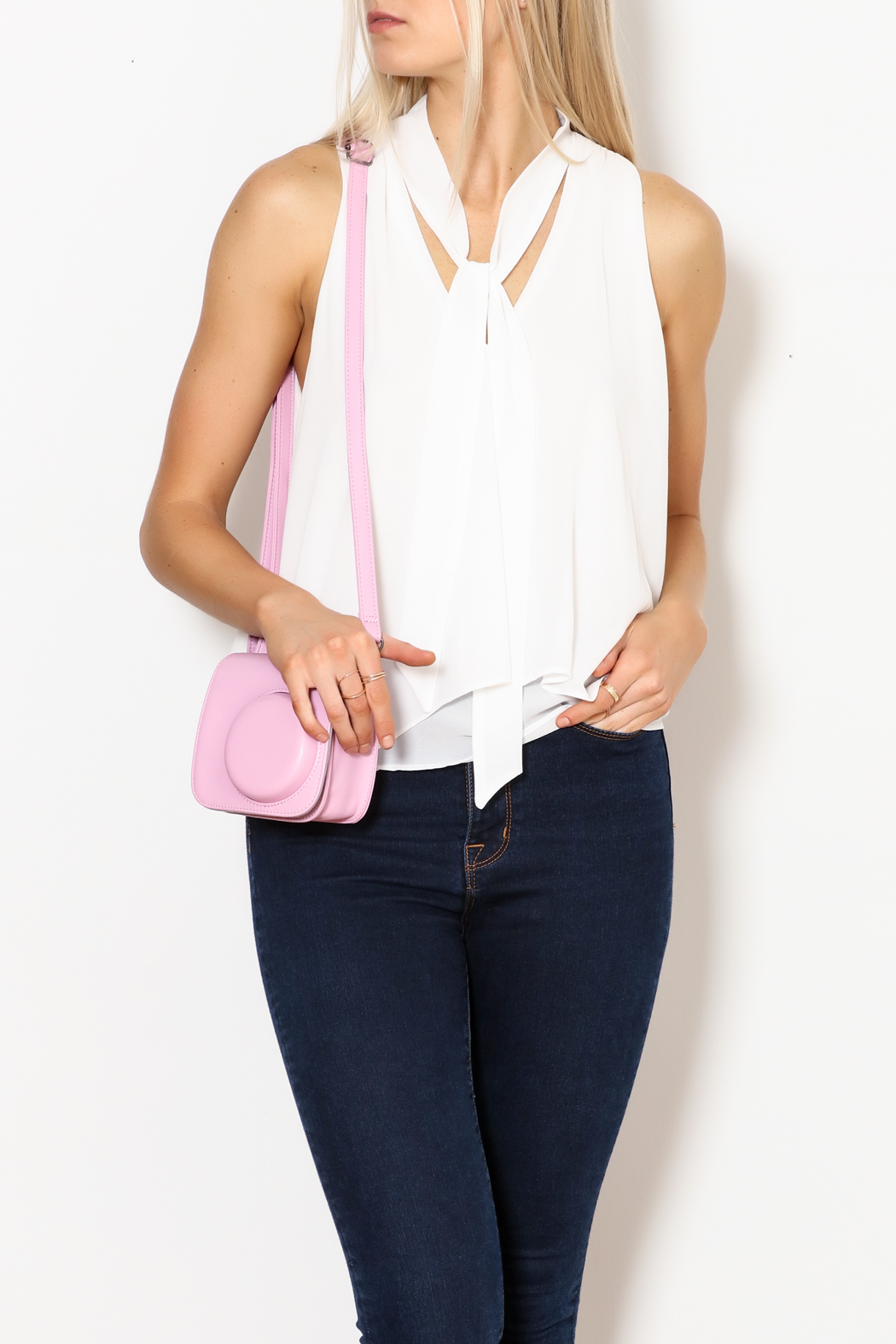 MICHEL Tie Front Blouse - Front Cropped Image