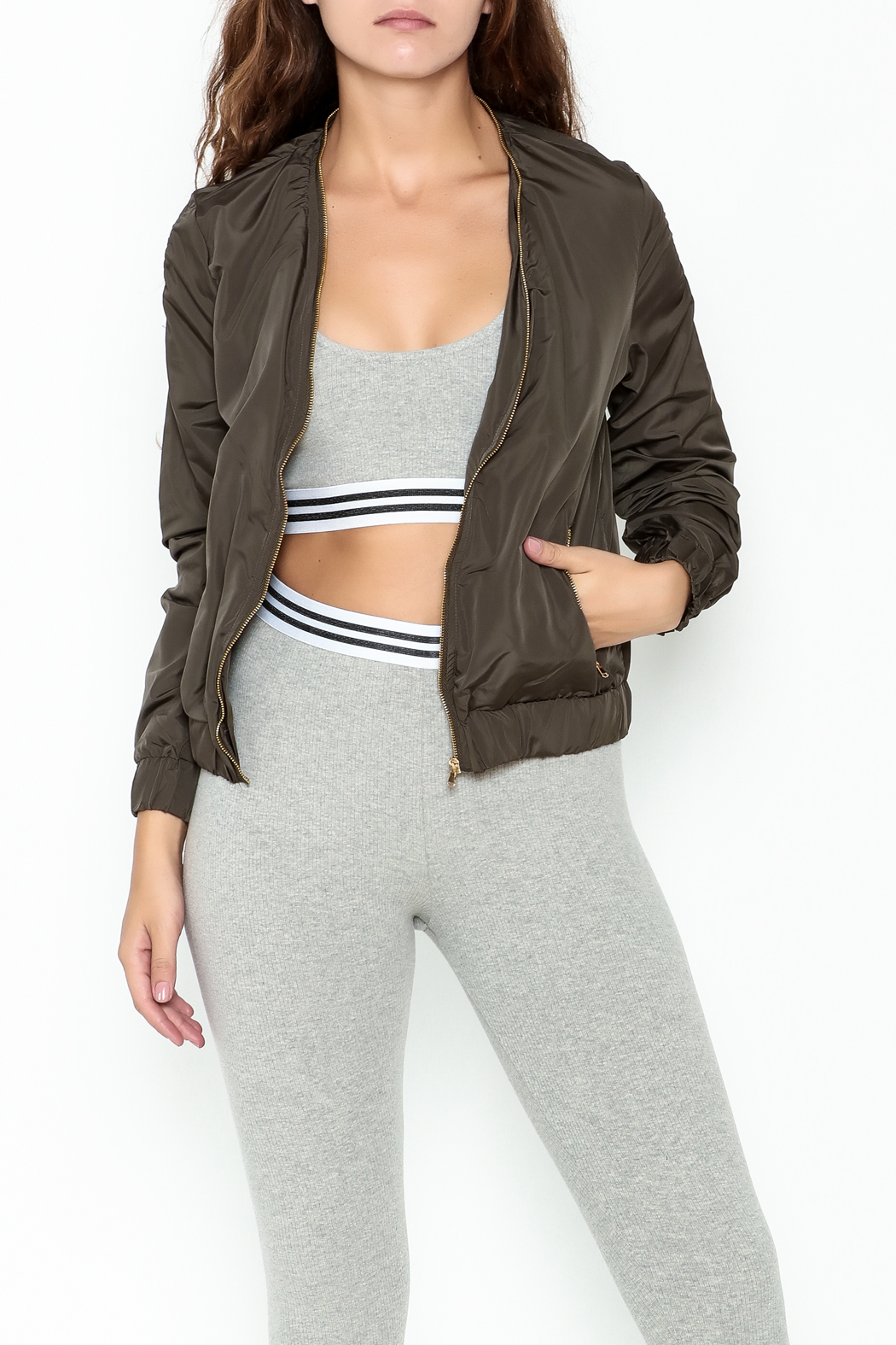 MICHEL Zip Up Bomber Jacket - Front Cropped Image