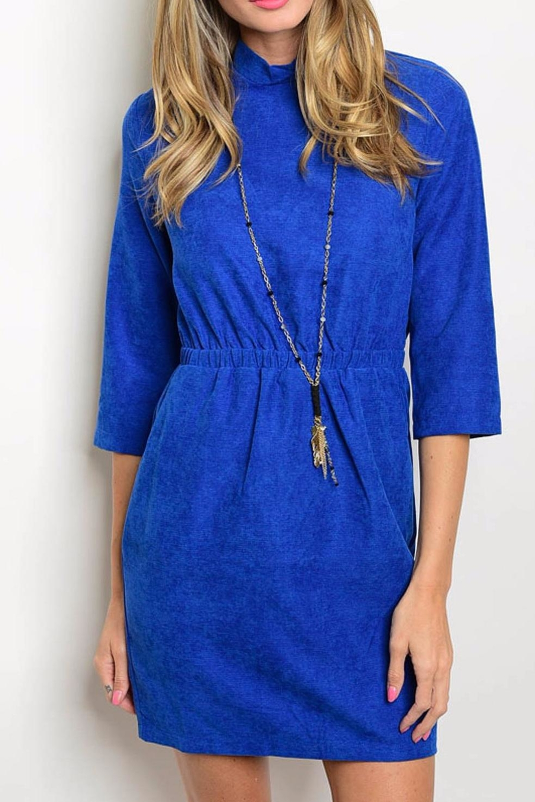 Michele Blue Suede Dress - Main Image