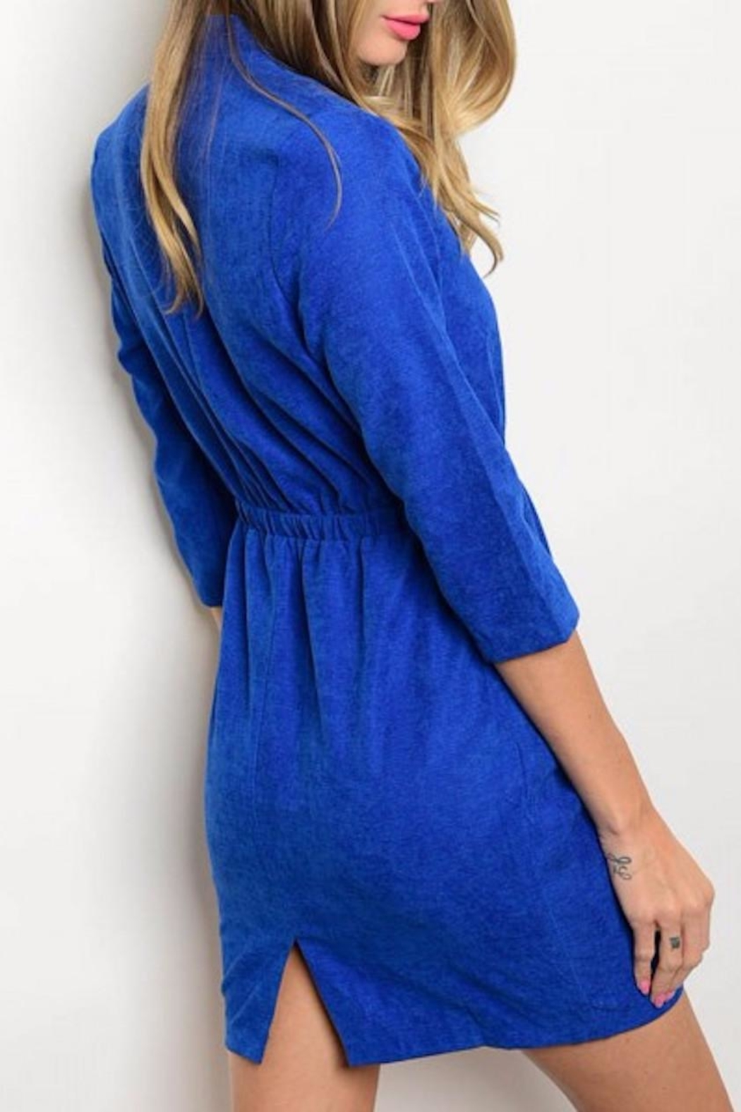 Michele Blue Suede Dress - Front Full Image