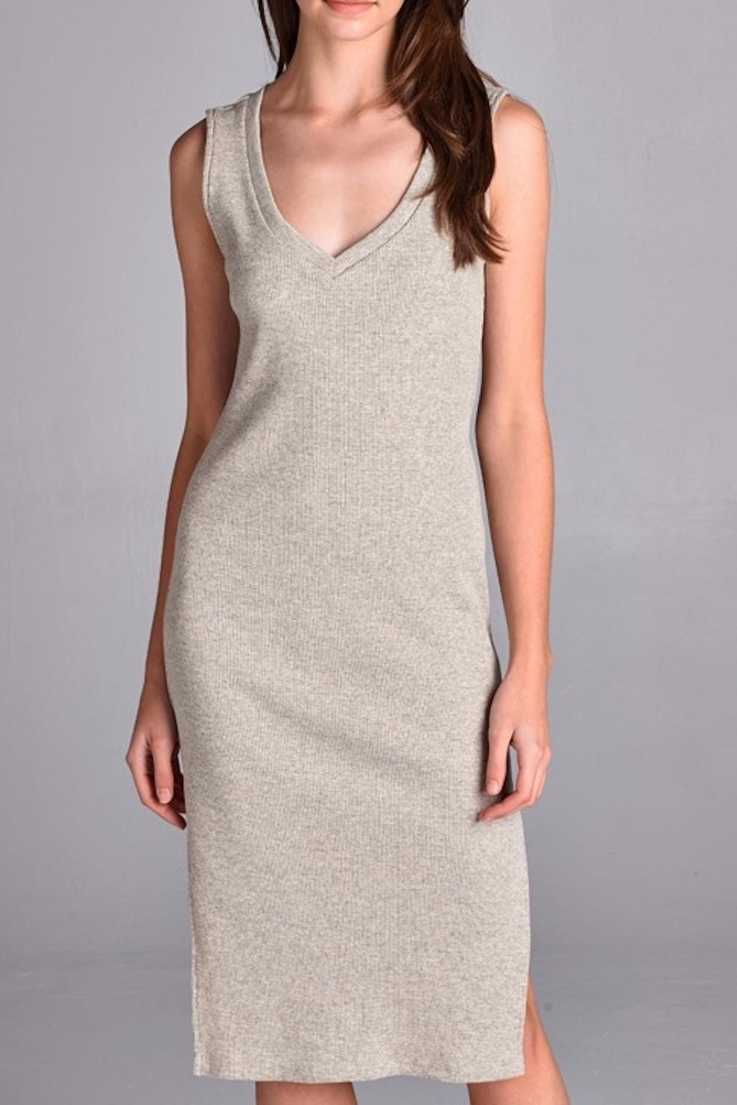 Michele Taupe Knit Dress - Front Cropped Image