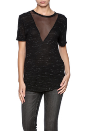 Michelle by Comune Black Mesh V-Neck Tee - Product Mini Image