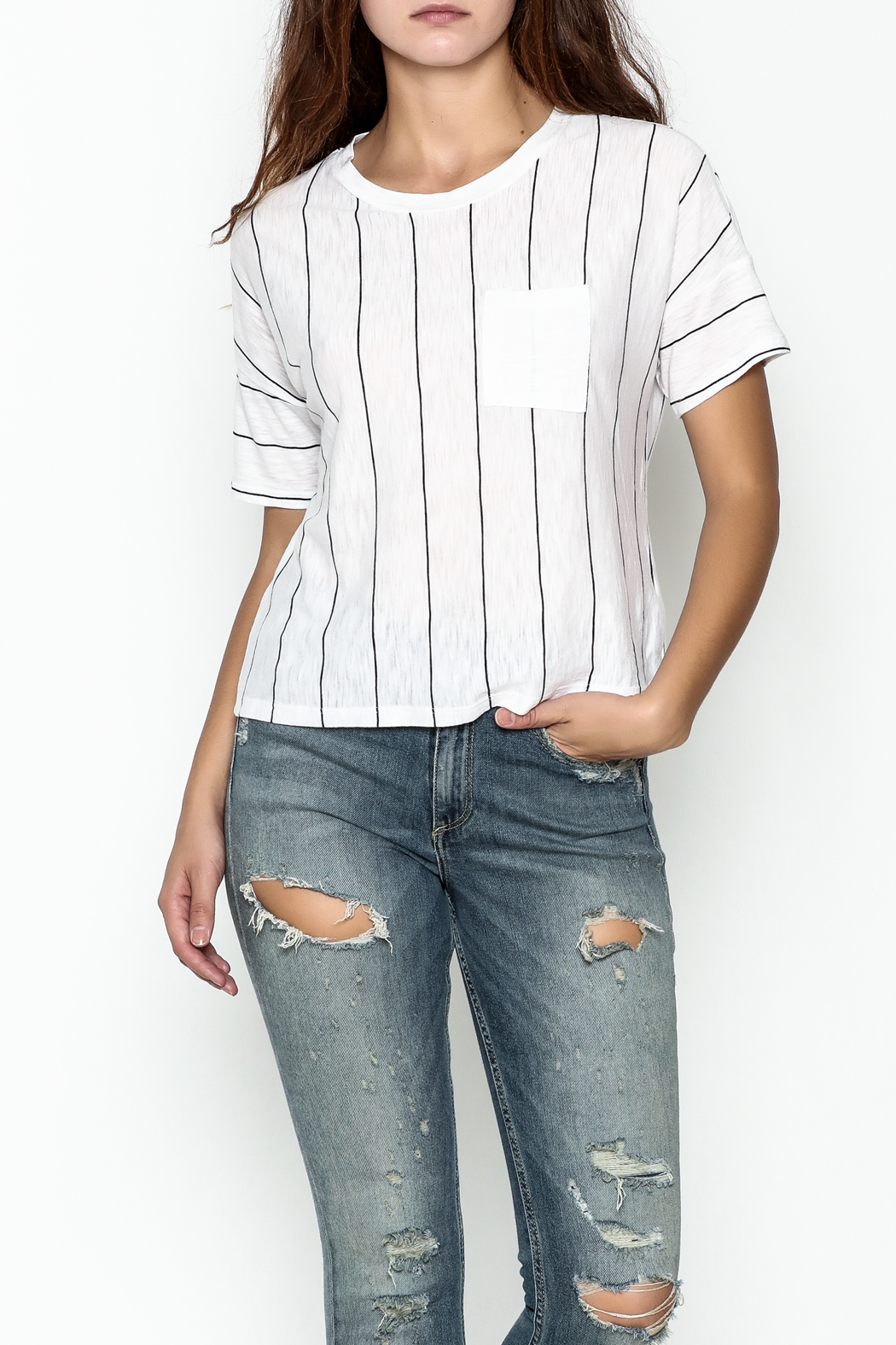 Michelle by Comune Striped Front Pocket Tee - Main Image