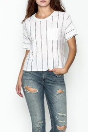 Michelle by Comune Striped Front Pocket Tee - Front cropped