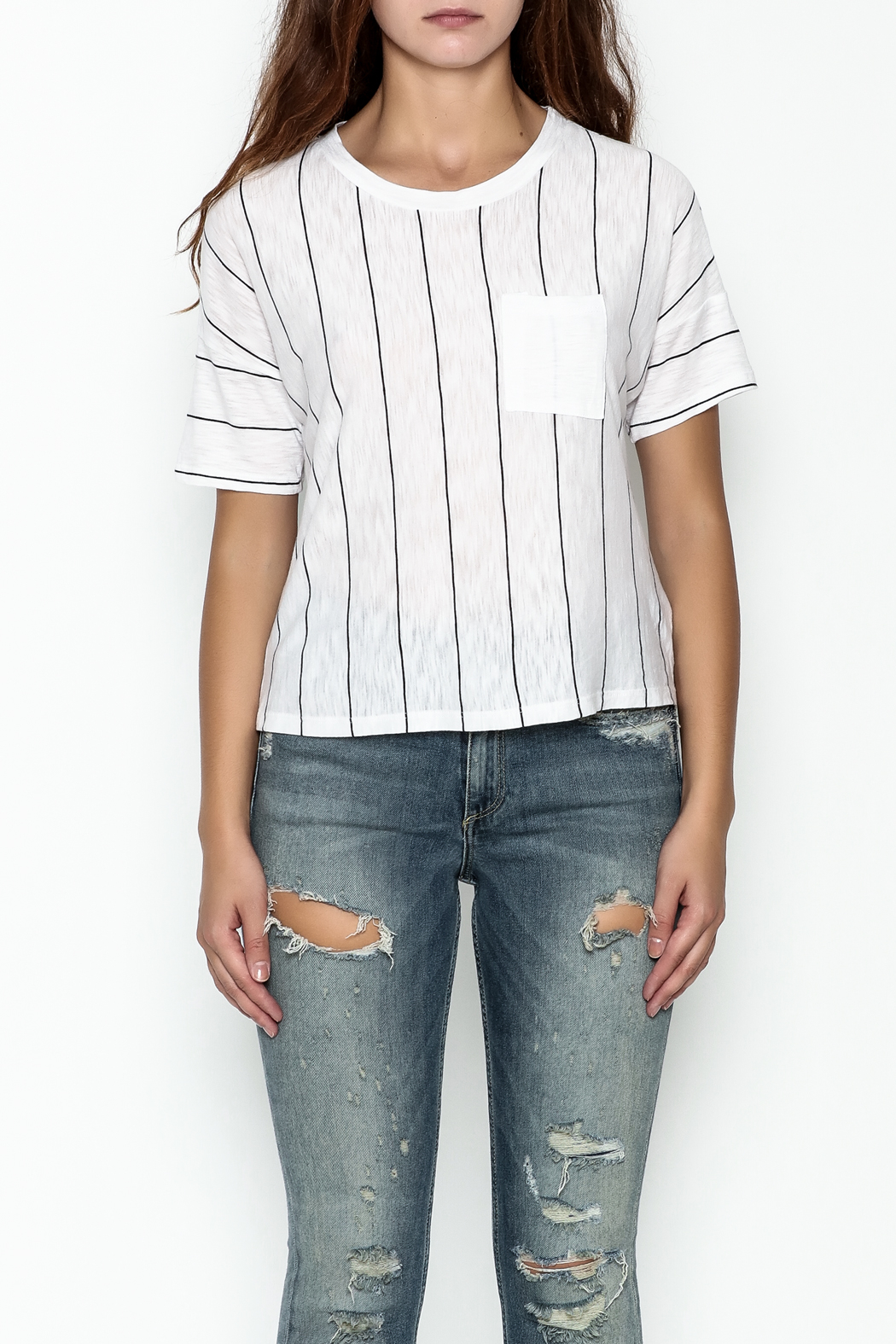 Michelle by Comune Striped Front Pocket Tee - Front Full Image