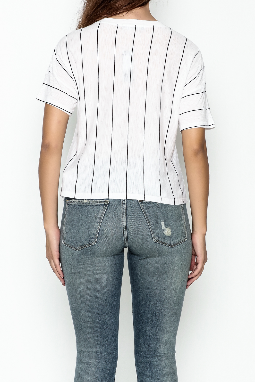 Michelle by Comune Striped Front Pocket Tee - Back Cropped Image