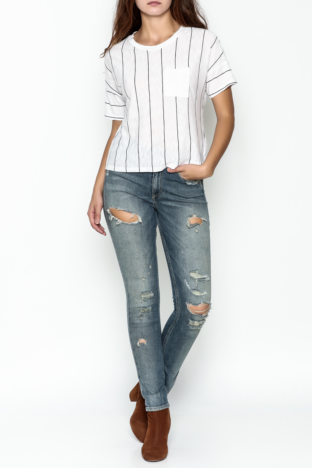 Michelle by Comune Striped Front Pocket Tee - Side Cropped Image