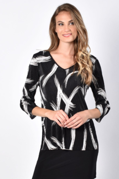 Frank Lyman Micro pleated black and white top - Alternate List Image