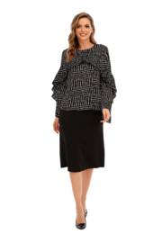 Miss Finch Micro Print Small Pleated Ruffled Top - Product Mini Image