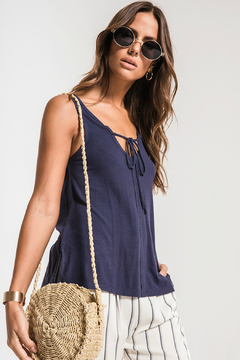 Shoptiques Product: Micro Rib Tie Front Tank
