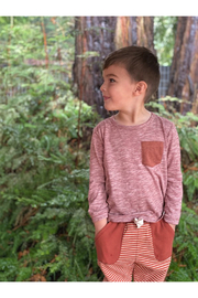 Me & Henry Micro Stripe Tee - Rust - Product Mini Image