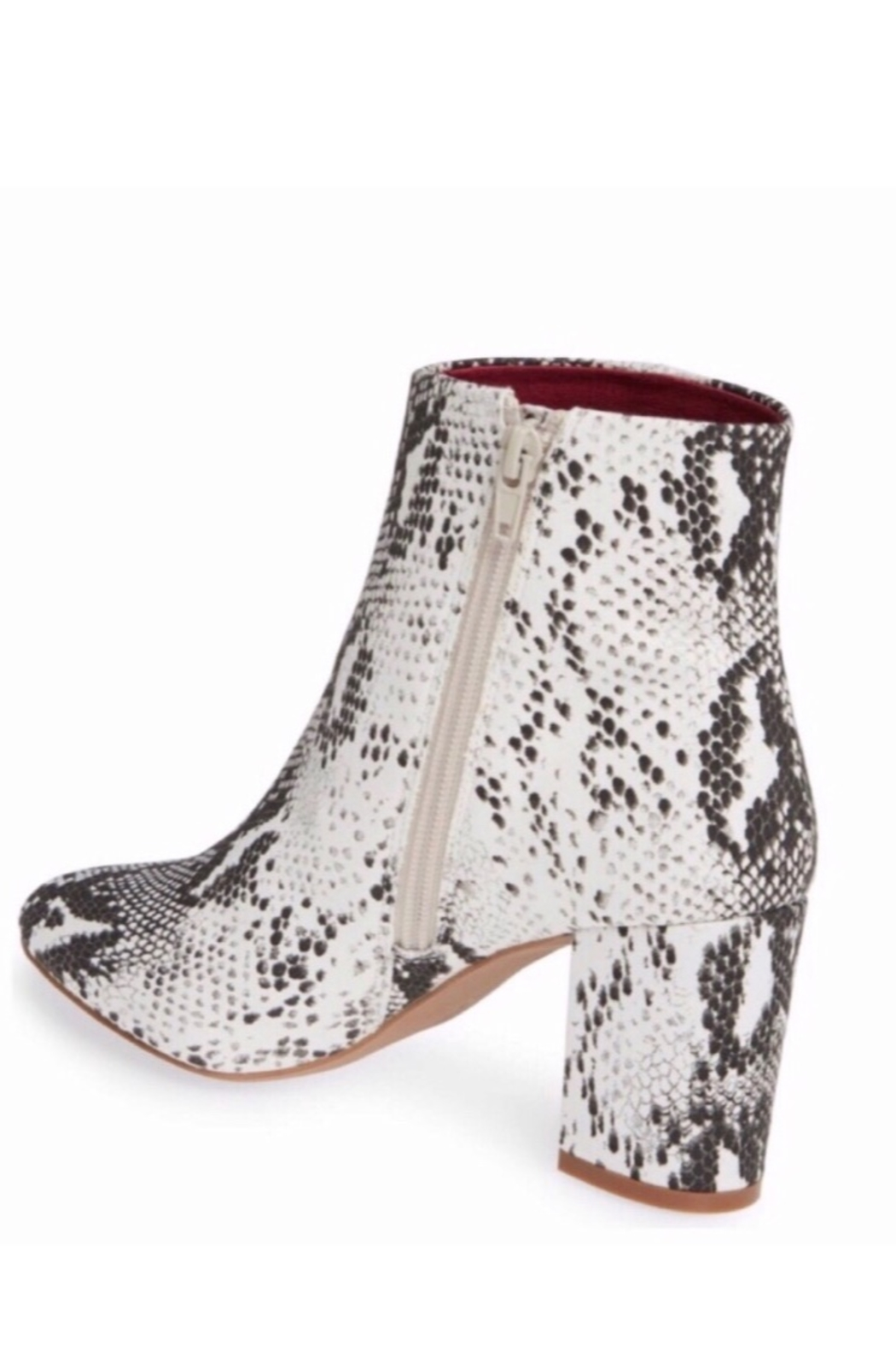 Band Of Gypsies Micro Suede Snake Print Vegan Booties - Back Cropped Image