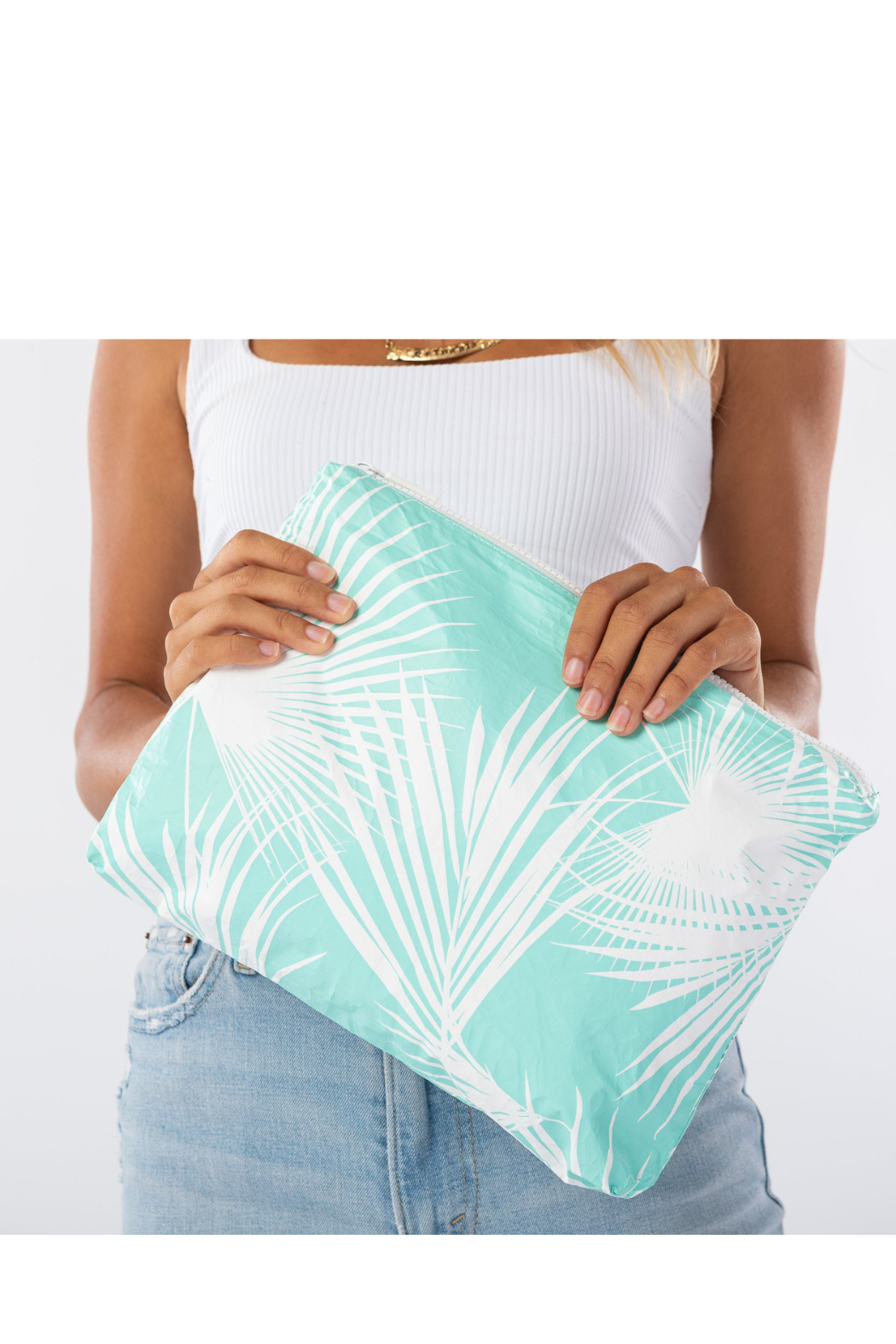 Aloha Collection Mid Day Palms Pouch in Pool - Main Image