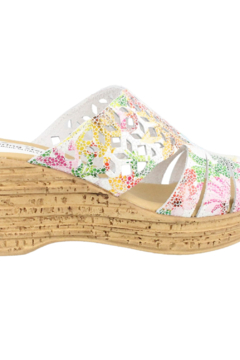 Shoptiques Product: Mid Heel Slide Sandals, open toe. White multi.