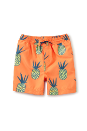Tea Collection  Mid-Length Swim Trunks - Golden Pinas - Front cropped
