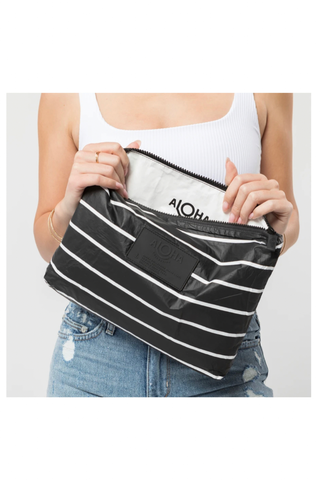 Aloha Collection Mid Pinstripe Pouch - Side Cropped Image