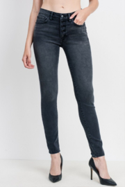 Just Black Denim Mid Rise Button Down Skinny - Front cropped