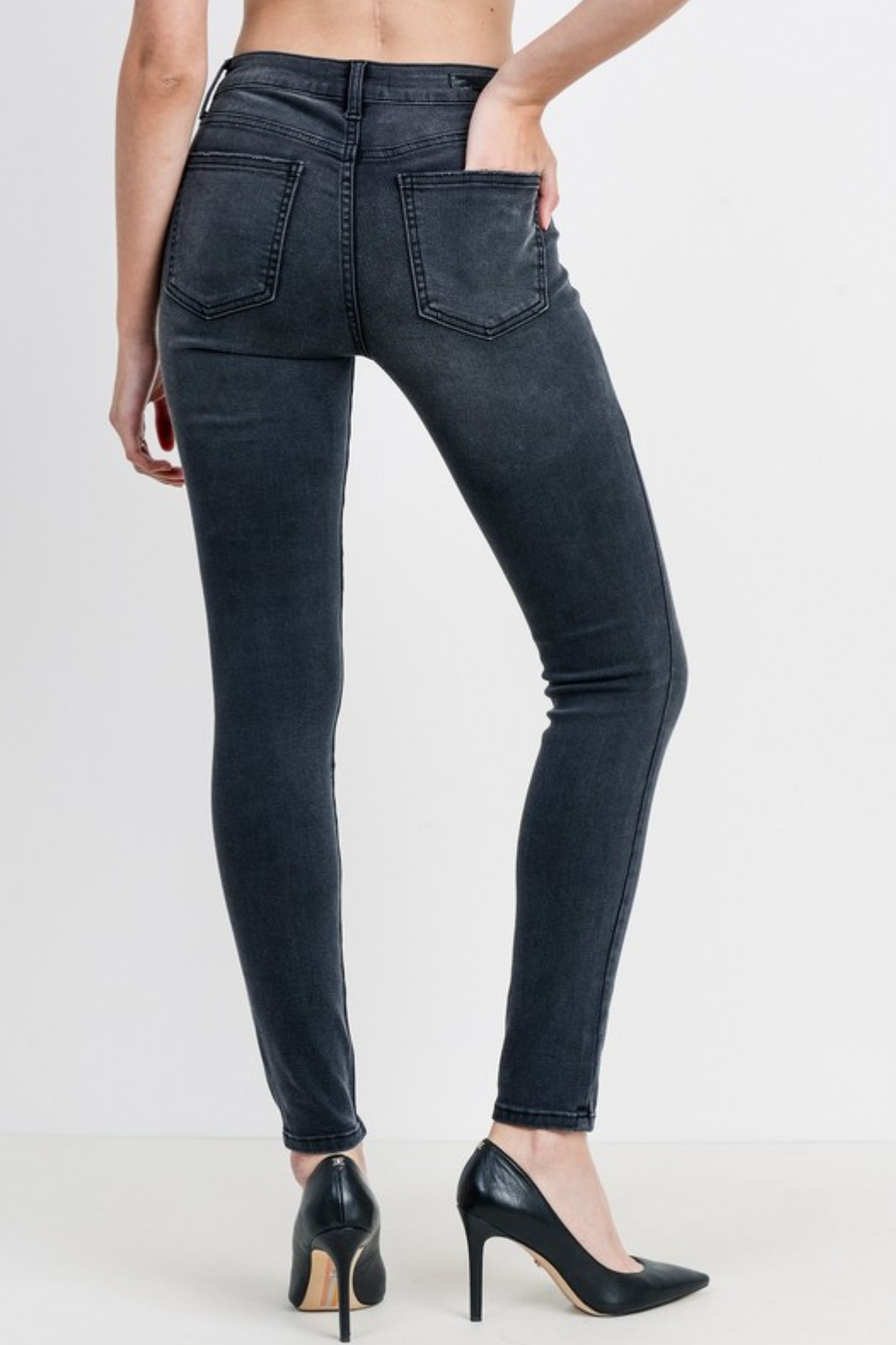 Just Black Denim Mid Rise Button Down Skinny - Side Cropped Image
