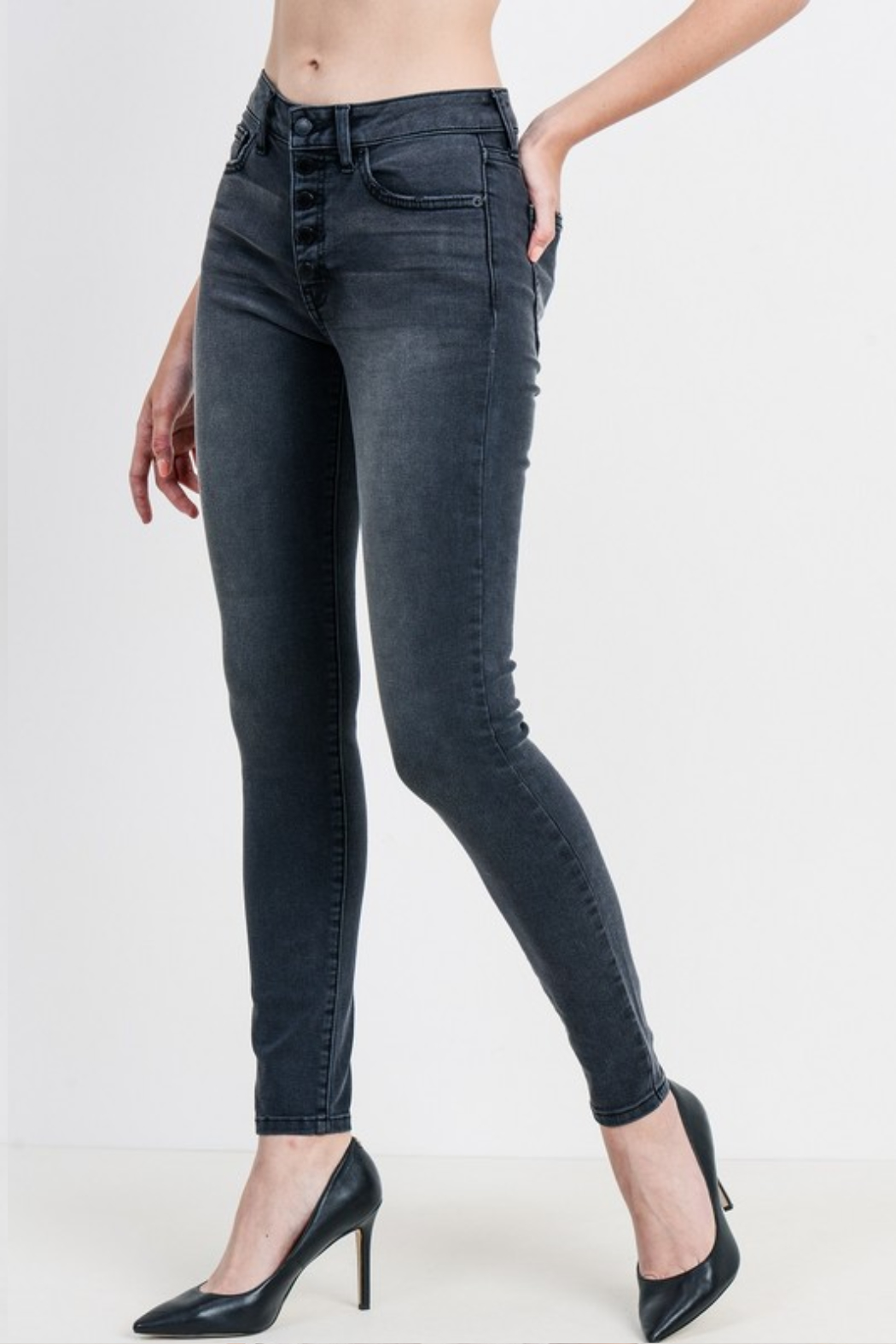 Just Black Denim Mid Rise Button Down Skinny - Front Full Image