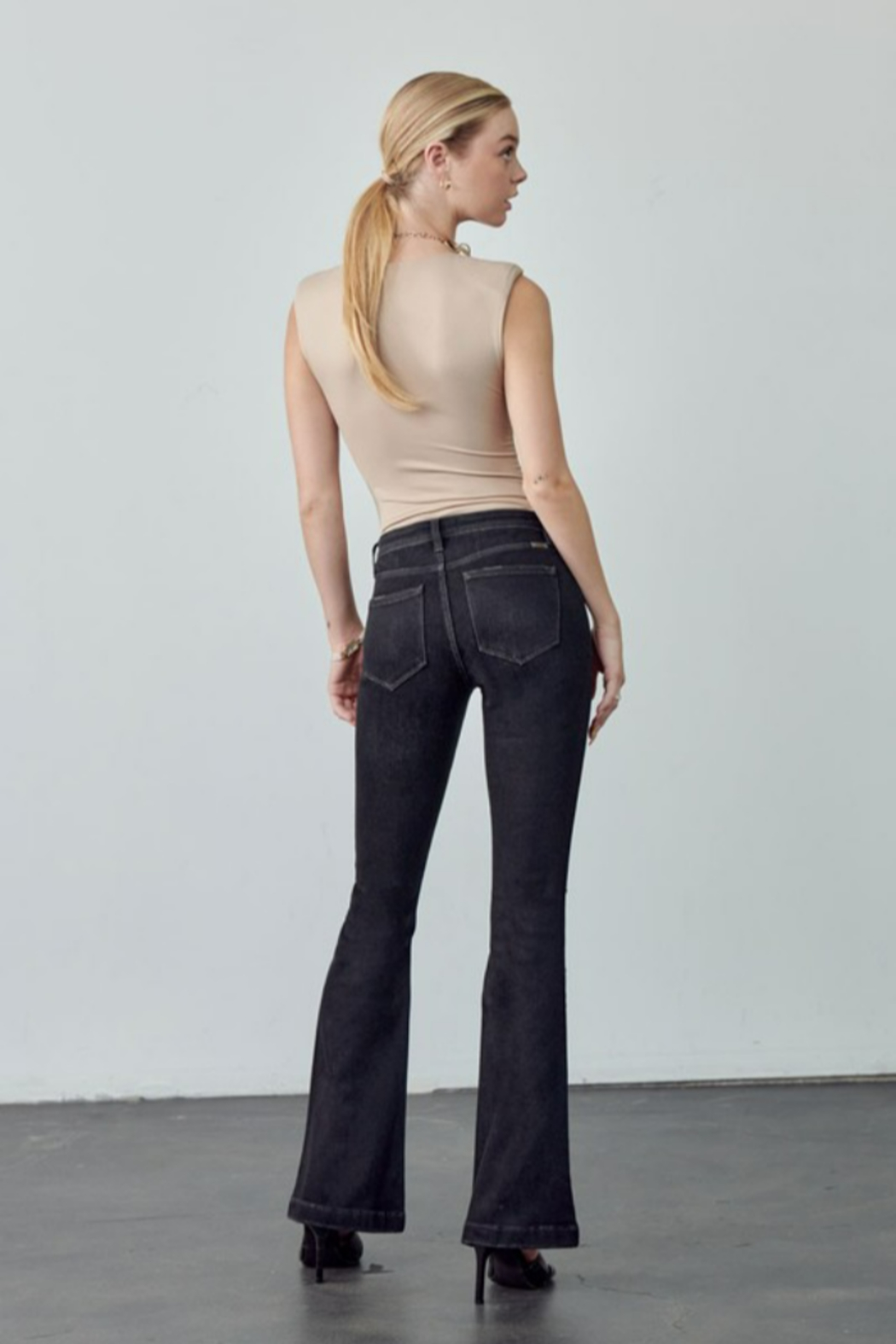KanCan Mid Rise Button Up Distress Flare - Side Cropped Image