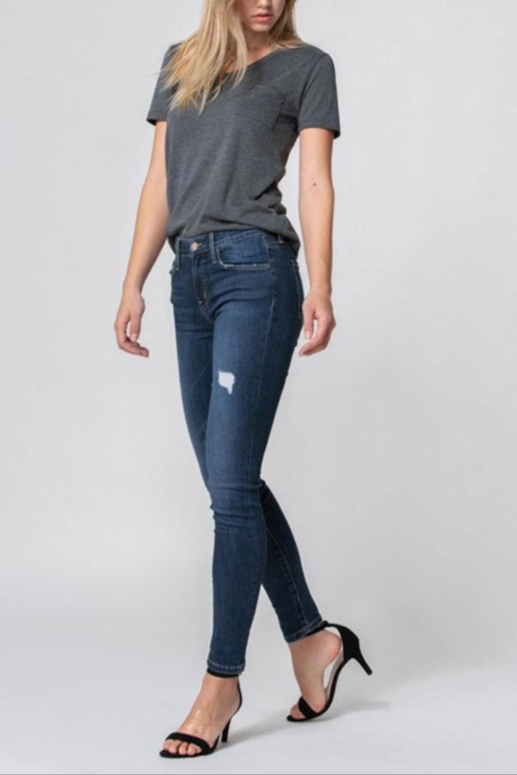 Flying Monkey Mid-Rise Distress Skinny - Back Cropped Image