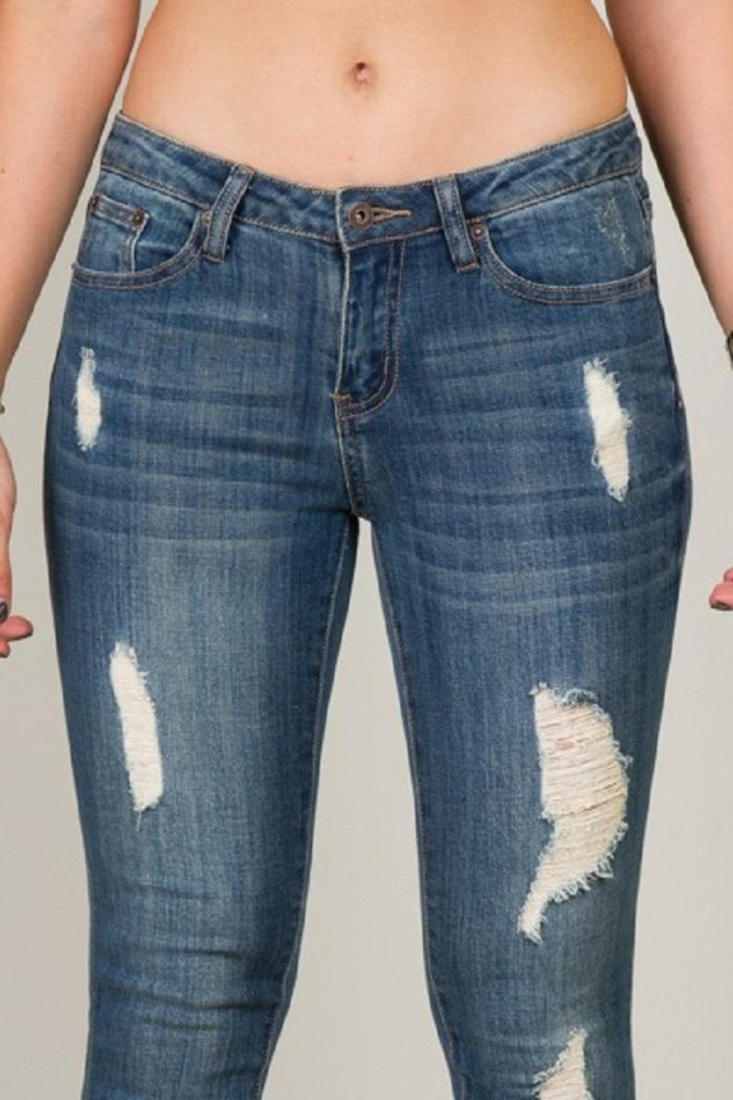 5th Culture Mid-Rise Distressed Denim - Side Cropped Image
